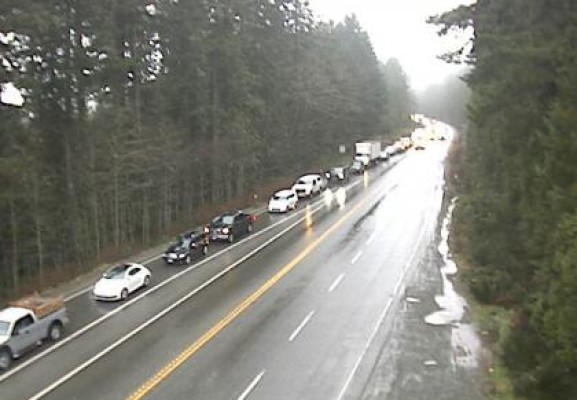 Traffic was backed up from the Alberni Summit for most of the afternoon Jan. 6. (Drive BC photo)